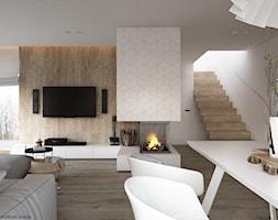 New nordic 2 - koncepcja - Duży biały beżowy salon z jadalnią, styl skandynawski - zdjęcie od ELEMENTY