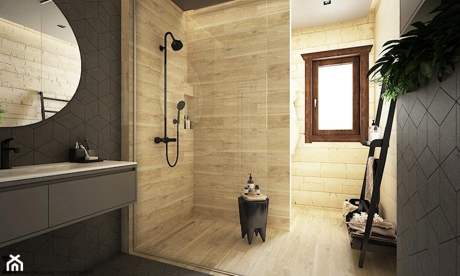Drewno + szarość - Średnia czarna łazienka w domu jednorodzinnym z oknem, styl skandynawski - zdjęcie od ELEMENTY