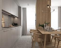 Mieszkanie w Krakowie - Średnia otwarta szara kuchnia jednorzędowa w aneksie z oknem, styl skandynawski - zdjęcie od ELEMENTY