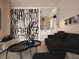 Apartament WBW - Mały biały salon z kuchnią, styl minimalistyczny - zdjęcie od ELEMENTY