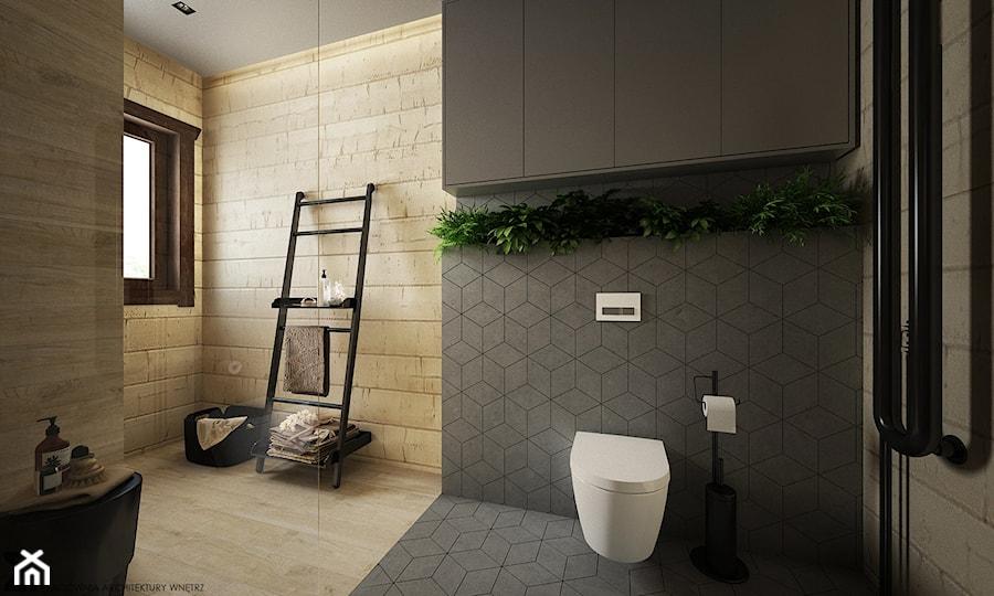 Drewno + szarość - Duża szara łazienka w domu jednorodzinnym z oknem, styl skandynawski - zdjęcie od ELEMENTY