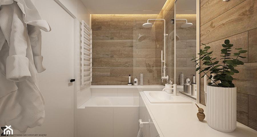 Aranżacje wnętrz - Łazienka: Naturalne drewno + biel = klasyka gatunku jako WERSJA 2 - Mała biała łazienka na poddaszu w bloku w domu jednorodzinnym bez okna, styl skandynawski - ELEMENTY. Przeglądaj, dodawaj i zapisuj najlepsze zdjęcia, pomysły i inspiracje designerskie. W bazie mamy już prawie milion fotografii!