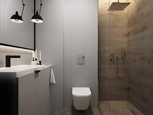 Soft-loft w szarości - Mała szara łazienka na poddaszu w bloku w domu jednorodzinnym bez okna, styl minimalistyczny - zdjęcie od ELEMENTY