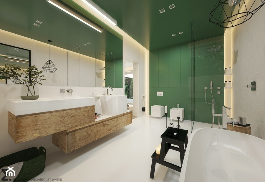 Wnętrze inspirowane kolorem - Duża beżowa zielona łazienka, styl nowoczesny - zdjęcie od ELEMENTY