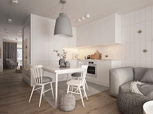 Apartament 2-poziomowy Praska Park - Mała otwarta biała szara jadalnia w kuchni w salonie, styl skandynawski - zdjęcie od ELEMENTY