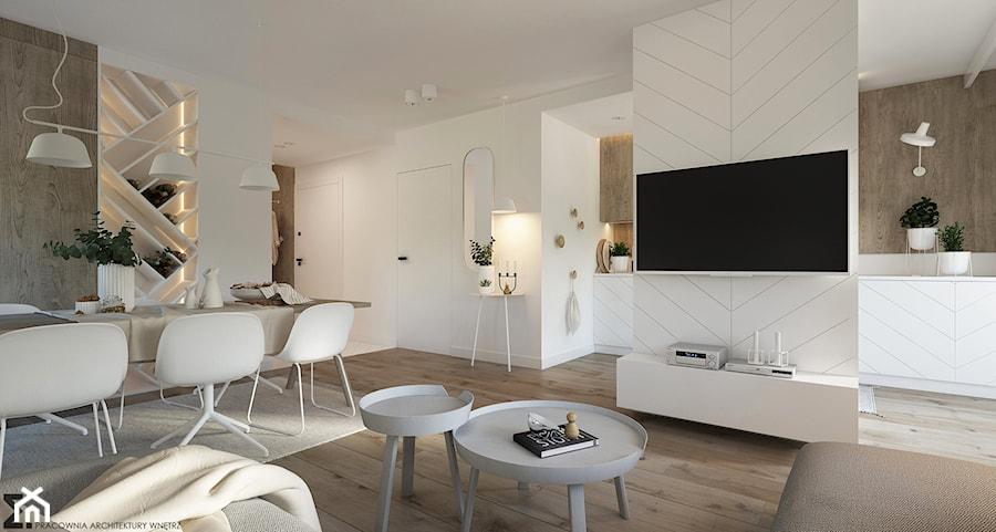 Naturalne drewno + biel = klasyka gatunku jako WERSJA 2 - Średni biały salon z kuchnią z jadalnią, styl skandynawski - zdjęcie od ELEMENTY