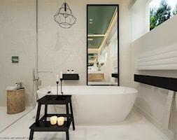 Wnętrze inspirowane kolorem - Średnia beżowa łazienka w domu jednorodzinnym z oknem, styl skandynawski - zdjęcie od ELEMENTY