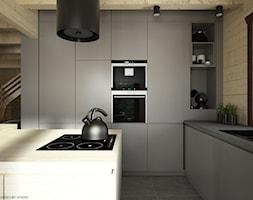 Drewno + szarość - Średnia otwarta beżowa kuchnia w kształcie litery l z wyspą, styl skandynawski - zdjęcie od ELEMENTY - Homebook