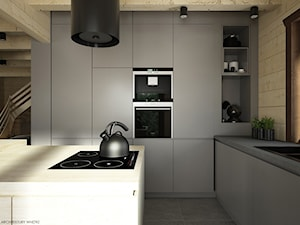 Drewno + szarość - Średnia otwarta beżowa kuchnia w kształcie litery l z wyspą, styl skandynawski - zdjęcie od ELEMENTY