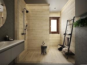 Drewno + szarość - Duża beżowa szara łazienka z oknem, styl skandynawski - zdjęcie od ELEMENTY