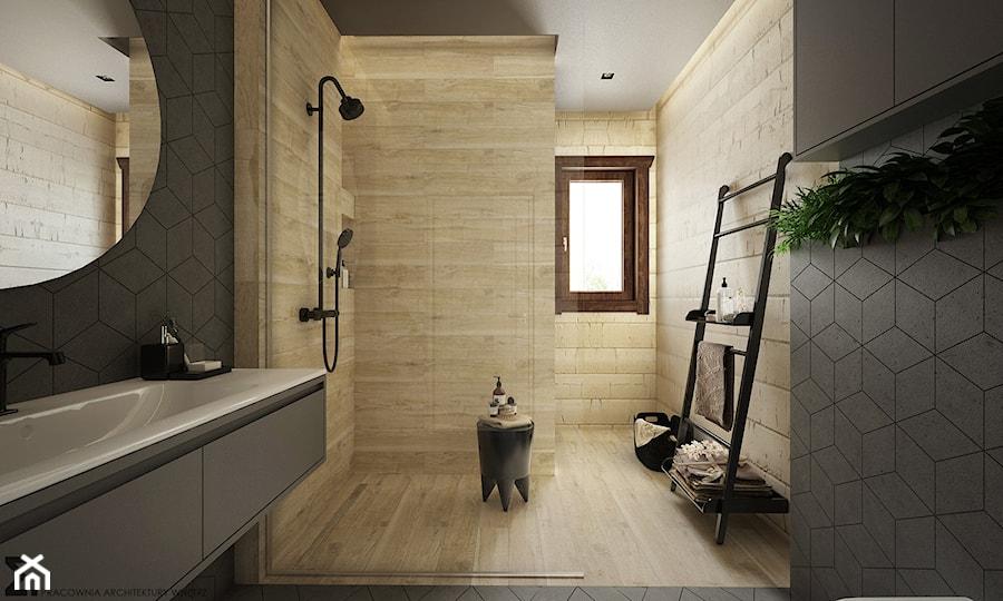Drewno Szarość Duża Beżowa Szara łazienka Z Oknem Styl