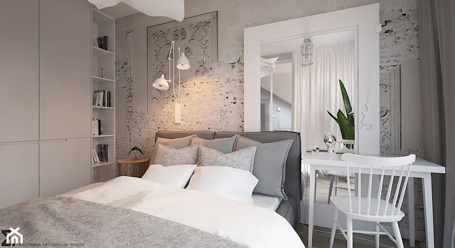 Apartament Praska Park - Średnia szara sypialnia małżeńska, styl skandynawski - zdjęcie od ELEMENTY