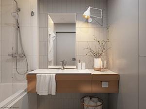 Apartament Praska Park - Mała biała szara łazienka w bloku bez okna, styl skandynawski - zdjęcie od ELEMENTY
