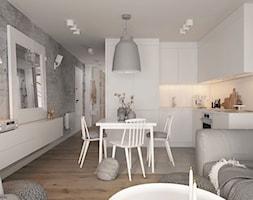 Apartament 2-poziomowy Praska Park - Mały szary biały salon z kuchnią z jadalnią, styl skandynawski - zdjęcie od ELEMENTY