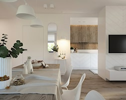 Naturalne drewno + biel = klasyka gatunku jako WERSJA 2 - Średnia otwarta beżowa jadalnia w salonie, styl skandynawski - zdjęcie od ELEMENTY