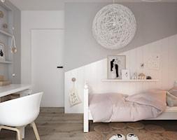 Apartament 2-poziomowy Praska Park - Średni biały szary pokój dziecka dla chłopca dla dziewczynki dla ucznia dla malucha dla nastolatka, styl skandynawski - zdjęcie od ELEMENTY