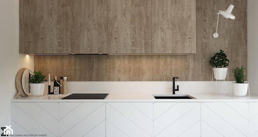 Naturalne drewno + biel = klasyka gatunku jako WERSJA 2 - Mała kuchnia jednorzędowa, styl skandynawski - zdjęcie od ELEMENTY