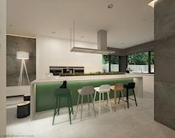 Wnętrze inspirowane kolorem - Duża otwarta szara kuchnia w kształcie litery l, styl nowoczesny - zdjęcie od ELEMENTY