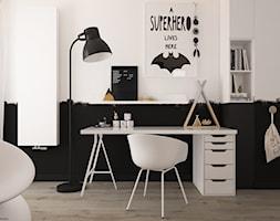 New nordic 2 - koncepcja - Mały biały czarny pokój dziecka dla chłopca dla dziewczynki dla ucznia dla nastolatka, styl skandynawski - zdjęcie od ELEMENTY