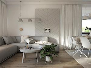 Naturalne drewno + biel = klasyka gatunku jako WERSJA 2 - Mały biały salon z jadalnią, styl skandynawski - zdjęcie od ELEMENTY