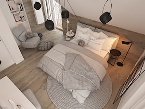 New nordic 2 - koncepcja - Duża beżowa biała sypialnia małżeńska na poddaszu, styl skandynawski - zdjęcie od ELEMENTY
