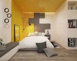 Pokoje dla nastolatków młodszych i najmłodszych - Średni biały szary żółty pokój dziecka dla chłopca dla dziewczynki dla nastolatka, styl nowoczesny - zdjęcie od ELEMENTY