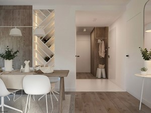 Naturalne drewno + biel = klasyka gatunku jako WERSJA 2 - Średnia otwarta biała jadalnia, styl skandynawski - zdjęcie od ELEMENTY