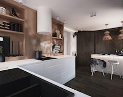 P-Cu - Średnia otwarta biała brązowa kuchnia w kształcie litery u, styl minimalistyczny - zdjęcie od ELEMENTY