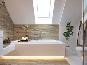 """W klimacie """"new nordic"""" - Średnia biała brązowa łazienka na poddaszu, styl skandynawski - zdjęcie od ELEMENTY"""