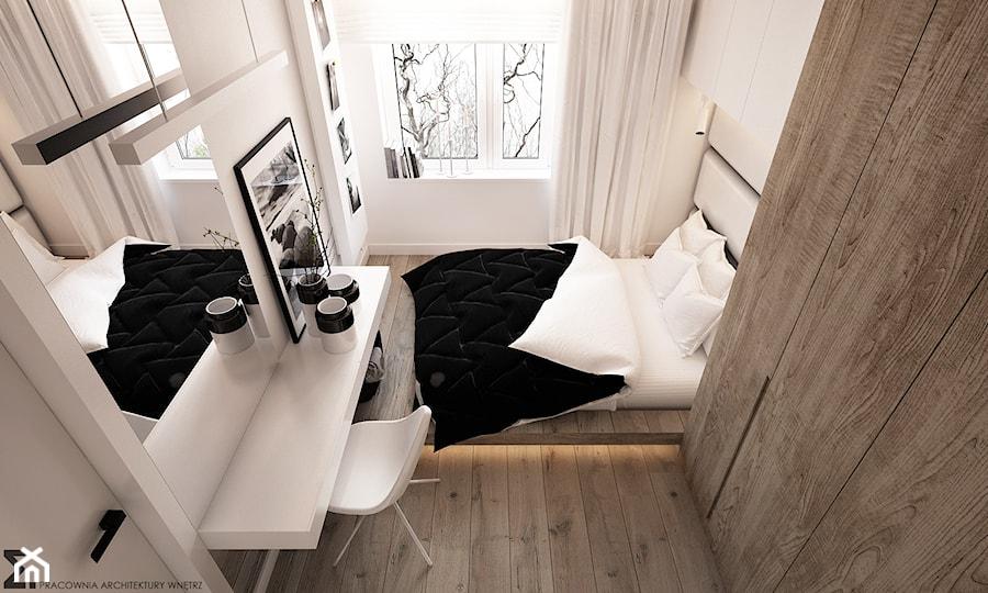 Apartament WBW - Mała biała sypialnia małżeńska, styl minimalistyczny - zdjęcie od ELEMENTY