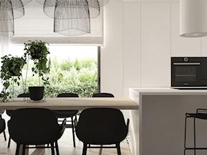 """Dom jednorodzinny w stylu """"soft-loft"""" - Średnia otwarta biała jadalnia w kuchni, styl minimalistyczny - zdjęcie od ELEMENTY"""