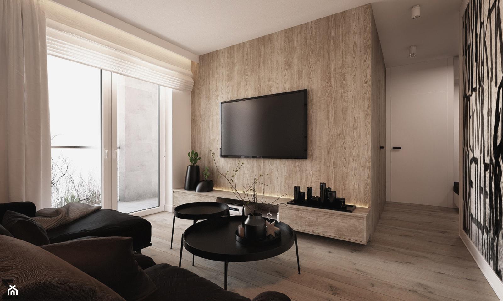 Apartament WBW - Średni biały salon, styl minimalistyczny - zdjęcie od ELEMENTY - Homebook