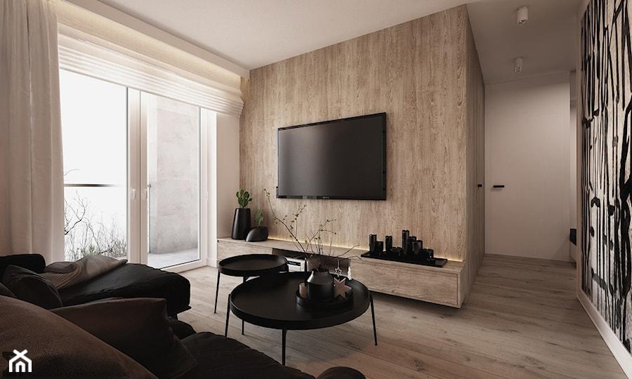 Apartament WBW - Średni biały salon, styl minimalistyczny - zdjęcie od ELEMENTY