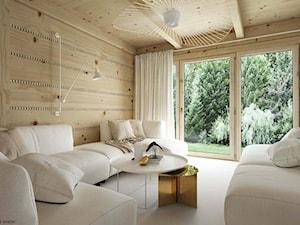 Dom drewniany - Średni biały salon z tarasem / balkonem, styl skandynawski - zdjęcie od ELEMENTY