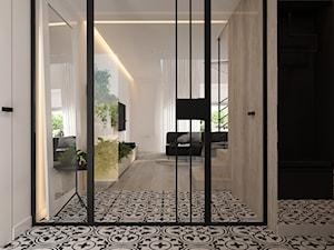 """Dom jednorodzinny w stylu """"soft-loft"""" - Duży beżowy czarny hol / przedpokój, styl industrialny - zdjęcie od ELEMENTY"""