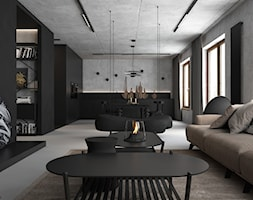 czErń ♠ - Duży szary czarny salon z kuchnią z jadalnią, styl minimalistyczny - zdjęcie od ELEMENTY - Homebook