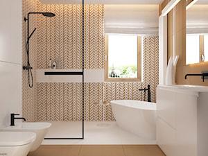 Skandynawski minimalizm w odcieniach nude - Duża szara łazienka w bloku w domu jednorodzinnym z oknem, styl minimalistyczny - zdjęcie od ELEMENTY