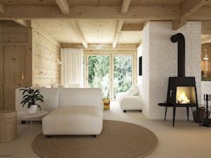 Dom drewniany - Średni biały salon, styl skandynawski - zdjęcie od ELEMENTY