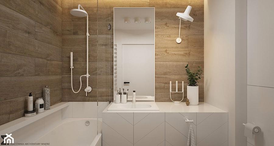 Naturalne drewno + biel = klasyka gatunku jako WERSJA 2 - Mała biała łazienka na poddaszu w bloku w domu jednorodzinnym bez okna, styl skandynawski - zdjęcie od ELEMENTY