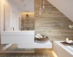 """W klimacie """"new nordic"""" - Duża biała beżowa łazienka na poddaszu, styl skandynawski - zdjęcie od ELEMENTY"""