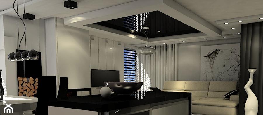 nowoczesny salon z kuchnia czarno biały - zdjęcie od Enc Interior-Designe