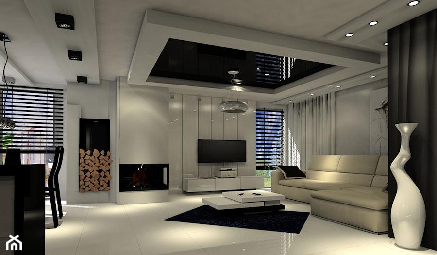 nowoczesny salon z kuchnia czarno biały - zdjęcie od Enc Interior-Designe - homebook