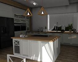 kuchnia biała z drewnem - zdjęcie od Nouvelle