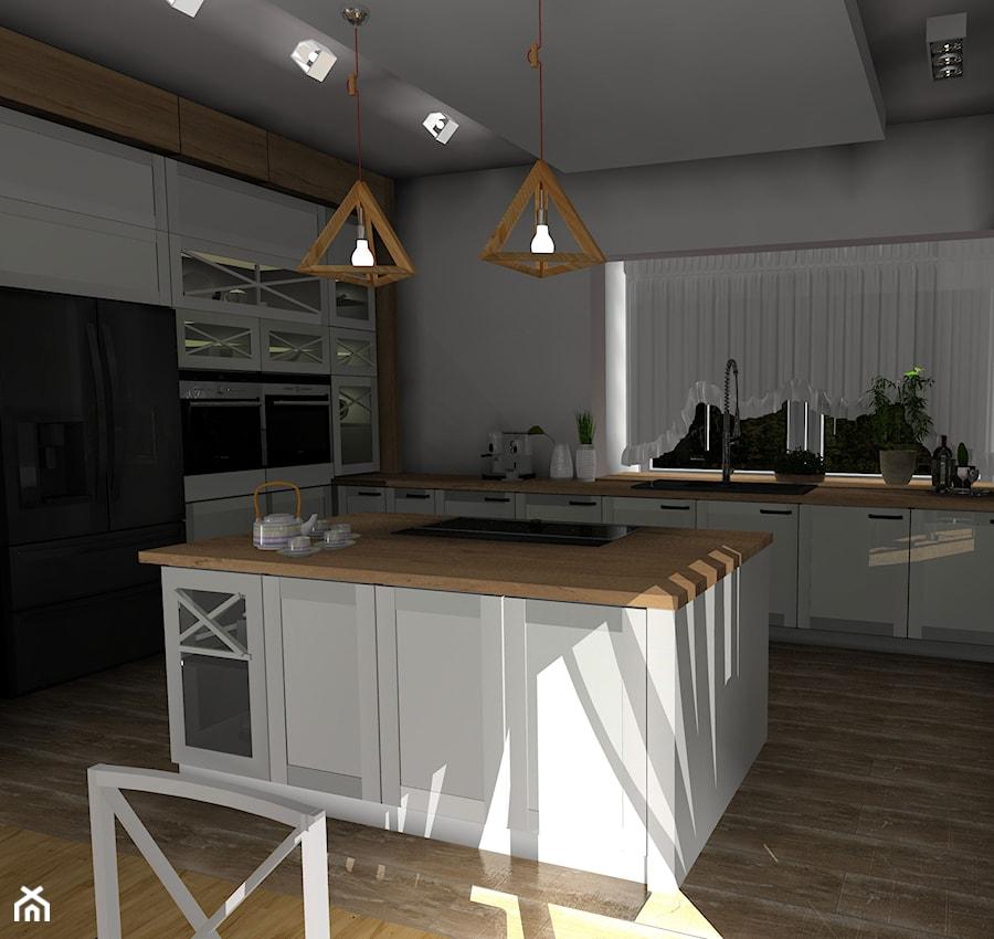 Aranżacje wnętrz - Kuchnia: kuchnia biała z drewnem - Nouvelle. Przeglądaj, dodawaj i zapisuj najlepsze zdjęcia, pomysły i inspiracje designerskie. W bazie mamy już prawie milion fotografii!