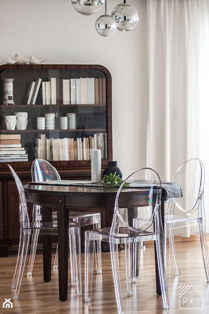 Mieszkanie Art Deco - Mała otwarta beżowa jadalnia jako osobne pomieszczenie, styl art deco - zdjęcie od PX3 Pracownia Projektowa Prokopowicz - Homebook