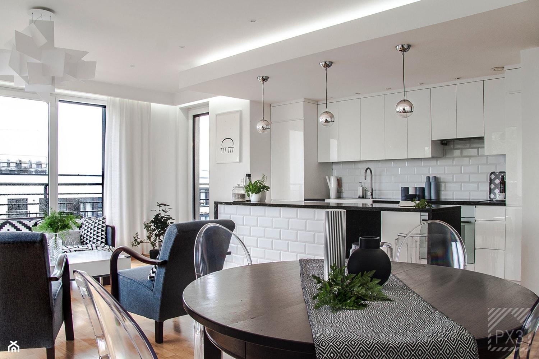 Mieszkanie Art Deco - Średnia biała jadalnia w kuchni w salonie, styl art deco - zdjęcie od PX3 Pracownia Projektowa Prokopowicz - Homebook