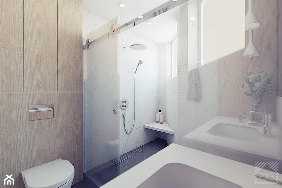 Łazienka na trójkącie - Średnia łazienka w bloku w domu jednorodzinnym z oknem, styl nowoczesny - zdjęcie od PX3 Pracownia Projektowa Prokopowicz