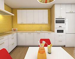 Soczyste mieszkanie pod Opolem - Duża zamknięta żółta kuchnia w kształcie litery l - zdjęcie od PX3 Pracownia Projektowa Prokopowicz