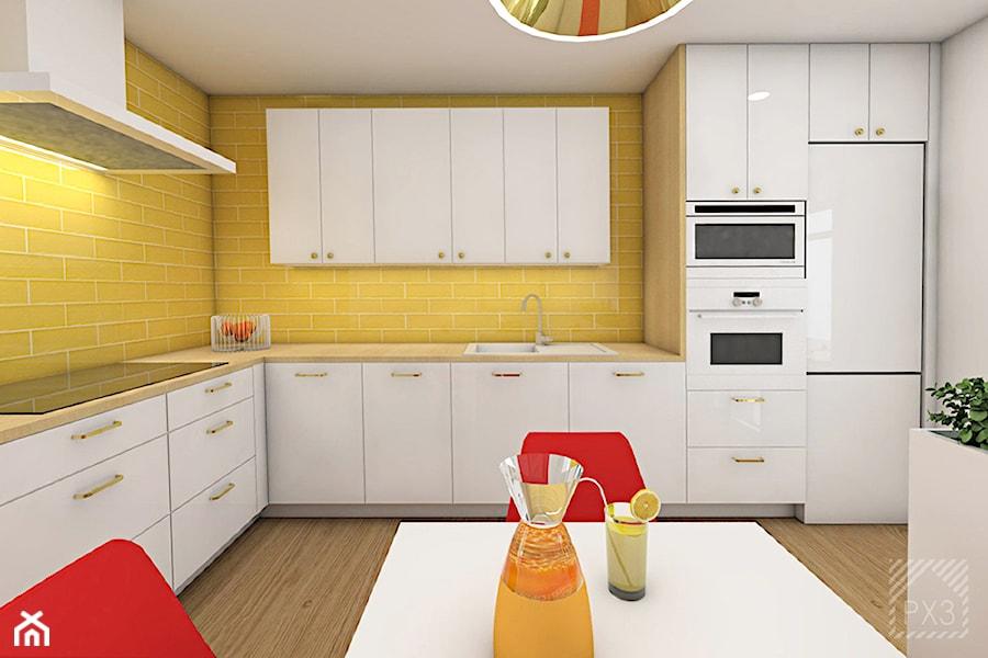 Aranżacje wnętrz - Kuchnia: Soczyste mieszkanie pod Opolem - Duża zamknięta żółta kuchnia w kształcie litery l - PX3 Pracownia Projektowa Prokopowicz . Przeglądaj, dodawaj i zapisuj najlepsze zdjęcia, pomysły i inspiracje designerskie. W bazie mamy już prawie milion fotografii!