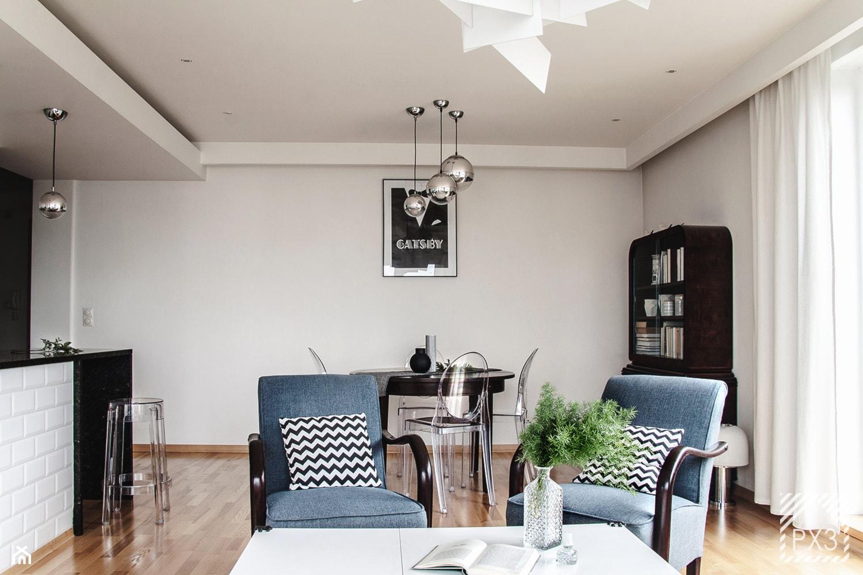 Mieszkanie Art Deco - Średni biały salon z bibiloteczką z jadalnią, styl art deco - zdjęcie od PX3 Pracownia Projektowa Prokopowicz - Homebook